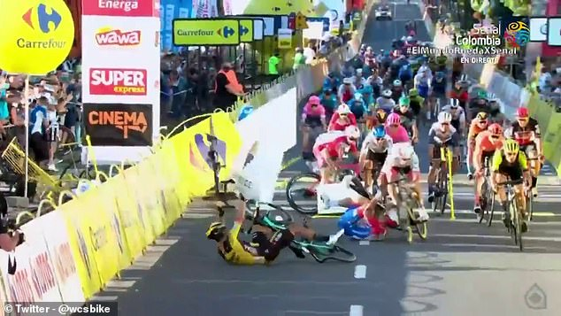 Jakobsen's impact knocked advertising hoardings and barriers into the path of the cyclists