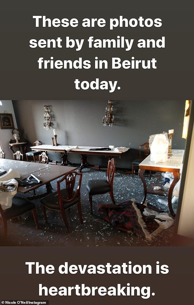 Shocking: The reality star, who is of Lebanese heritage, posted some photographs on her Instagram story of the homes of her family and friends that were left completely destroyed by the explosion