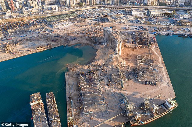 An aerial view of the damaged port area after the devastating explosion in Beirut on Wednesday