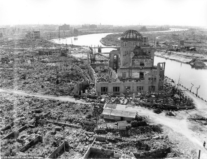 The United States dropped the world's first atomic bomb on Hiroshima on August 6, 1945, destroying the city and killing 140,000 people (aftermath pictured)