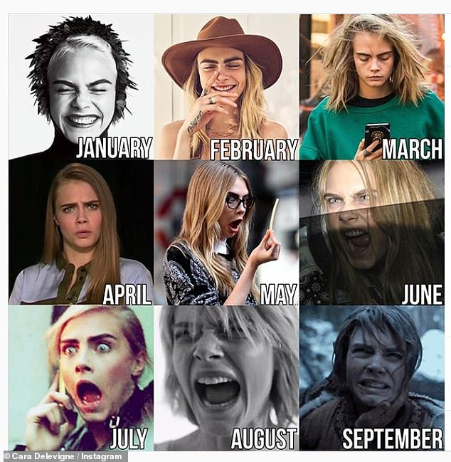 Model behaviour: Cara Delevingne's attempt gained over half a million likes, with her use of memorable red carpet moments and stills from her movie roles