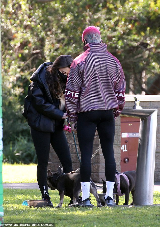 Cute: The pair certainly had something to bond over, as they both brought their dogs to the park