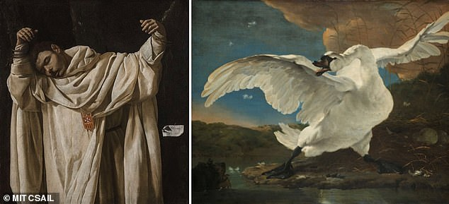 Art curators could face competition as researchers have developed an artificial intelligence (AI) that can spot 'hidden connections' between paintings. Pictured, the pairing of Francisco de Zurbarán's 'The Martyrdom of Saint Serapion' and Jan Asselijn's 'The Threatened Swan' in theRijksmuseum that inspired the researchers to develop the art-comparing AI