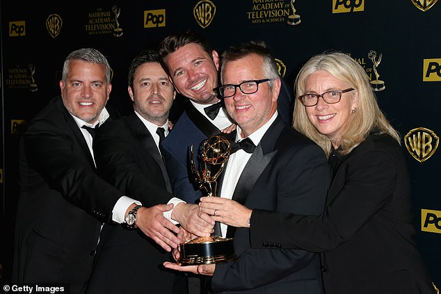 Last month one current and ten former employees of her daytime chat show accused its three executive producers, Ed Glavin (second from right), Mary Connelly (far right) and Andy Lassner (second from left), of 'bullying.'Jonathan Norman (far left), a co-executive producer, is alleged to have 'groomed' a former employee by taking him to concerts and showering him with other gifts and perks before attempting to perform oral sex on him. Kevin Leman (center), the show's head writer and executive producer, is alleged to have solicited oral sex from an employee. Others say they witnessed Leman grope another colleague. Glavin allegedly 'had a reputation for being handsy with women,' according to former employees