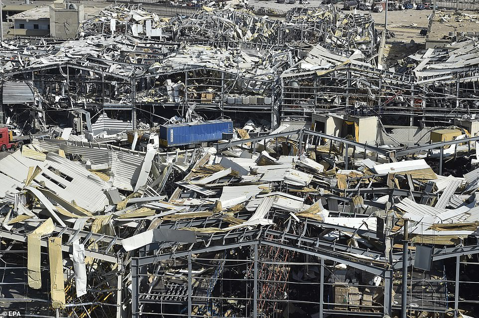 Destroyed warehouses are seen near the port area in the aftermath of a massive explosion in downtown Beirut