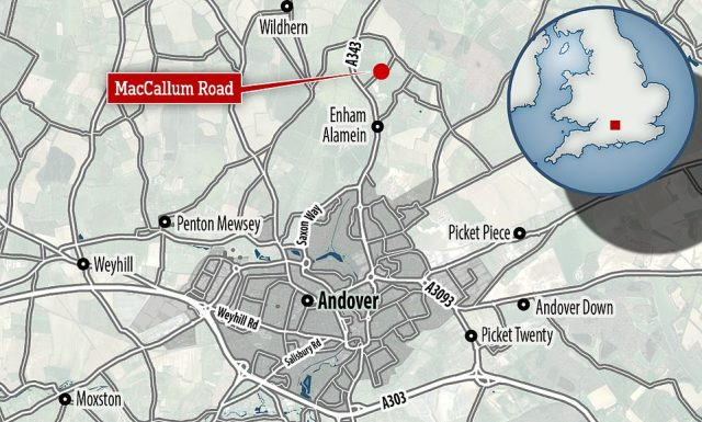 The crash site was three miles from the scene of the shooting, in MacCallum Road, Upper Enham. The rider died at the scene of crash, police say
