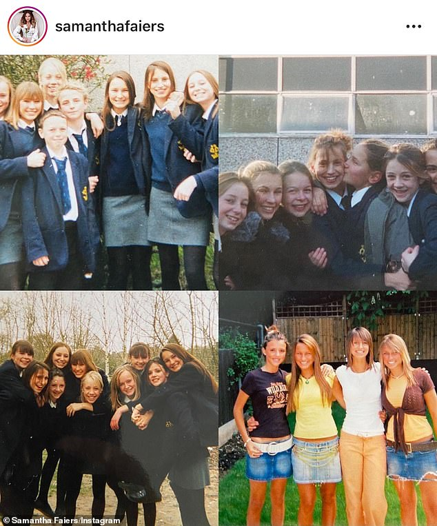 Memory lane:Sam followed this with collages of other photographs, starting back when they were at school together