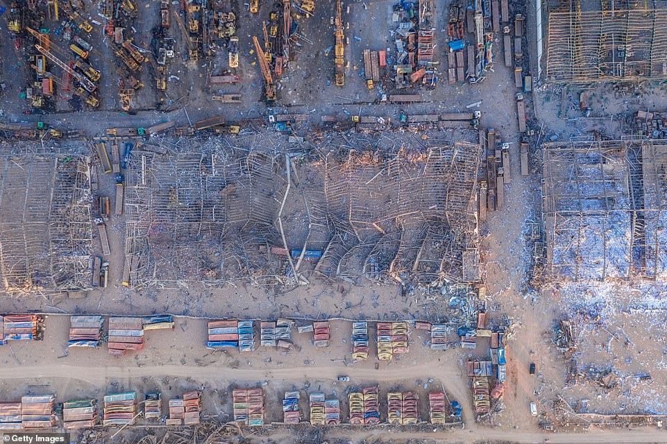 An aerial image showing the devastation caused to Beirut's port by the blast, with costs estimated at up to $5billion