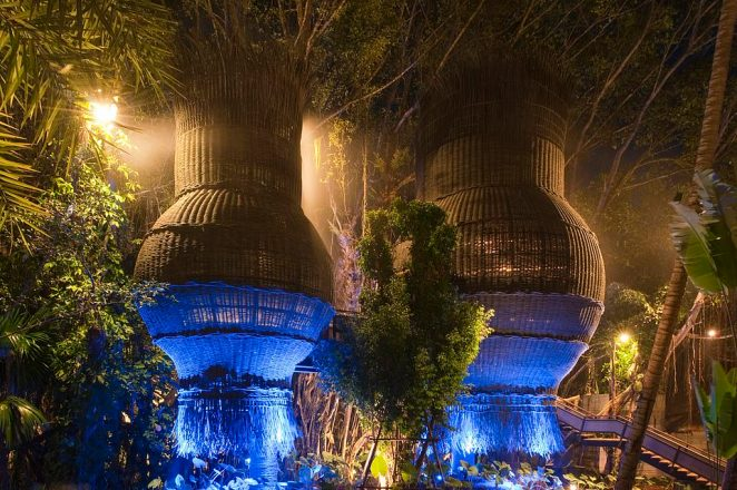 The Slate's award-winning Coqoon Spa is housed inside gigantic bulbous wicker structures