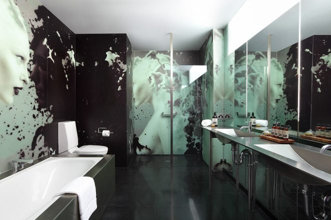 The hotel has acantilevered glass-bottomed pool on the roof - and eye-catching bathrooms