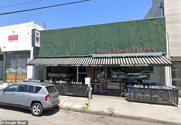 Farah said her managers tried to suspend her for two weeks over DeGeneres' complaint, but she had already told them she was quitting to pursue her stand-up career. Pictured: The outside of the vegan restaurant where Farah was working when the alleged incident occurred