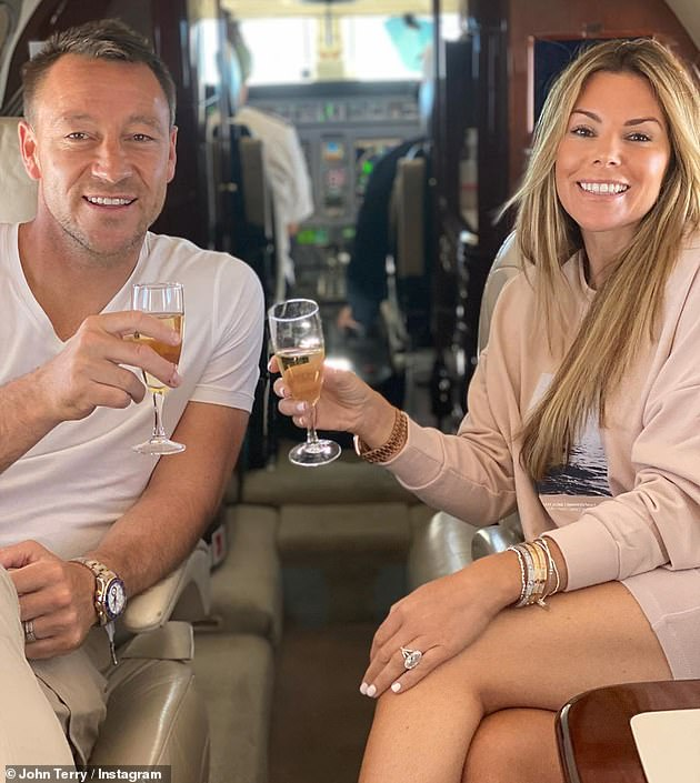 Good times:Taking to their respective Instagram accounts, the couple were pictured raising their glasses while settling into a pair of comfortable leather seats close to the jet¿s cockpit