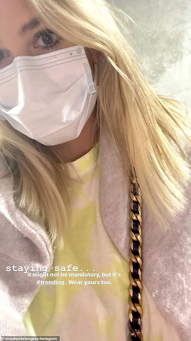 Advice: It comes after Phoebe uploaded a snap of herself wearing a mask on her Instagram Stories, earlier on in the week. She wrote in the caption of the now-deleted Instagram post: 'Staying safe... It might not be mandatory, but it's #trending. Wear yours too'