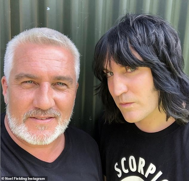 Filming again: The happy news arrives as Noel takes over the set of Bake Off (pictured with Paul Hollywood)