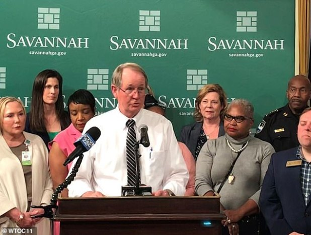 Coastal Health District Director Dr.  Lawton Davis is seen announcing the boy's death last week.  He said that seeing someone in front of such a young virus was 'particularly heartbreaking'
