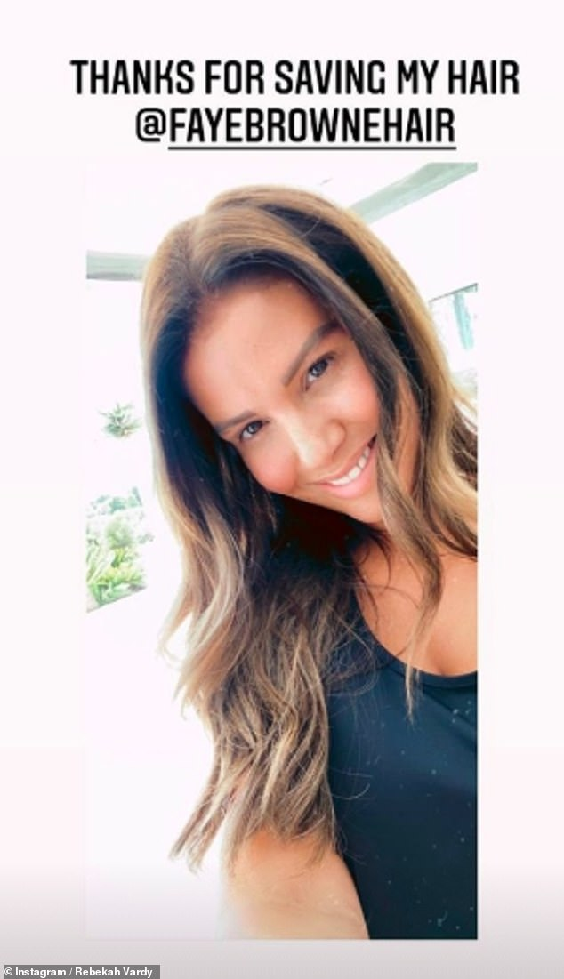Glowing: The mother-of-five wowed in a selfie shared to her Instagram Stories, where she let her brunette locks cascade over her shoulders