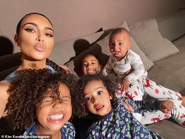 Children involved: Kim and Kanye are parents to a total of four children, daughters North, seven, and Chicago, two, and sons Saint, five, and Psalm, one; Kim and her children pictured on Instagram in May