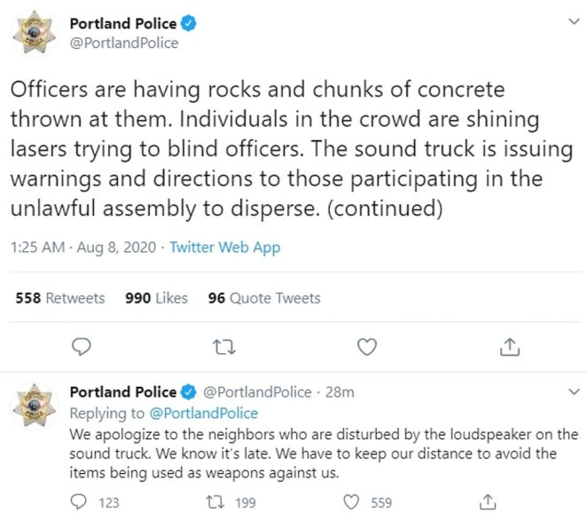 Portland police tweeted on Friday night that they were having rocks and concrete thrown