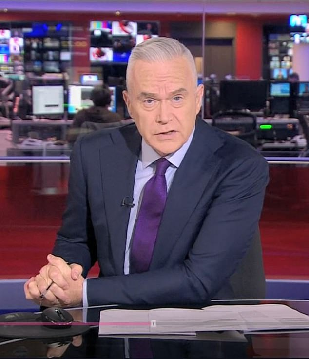 In March, Huw appeared to have a Covid-19-related case of pneumonia and was left with 'agonisingly painful' limbs and no sense of smell and taste vanished. Pictured,presenting 10 o'clock news on 25th February 2019