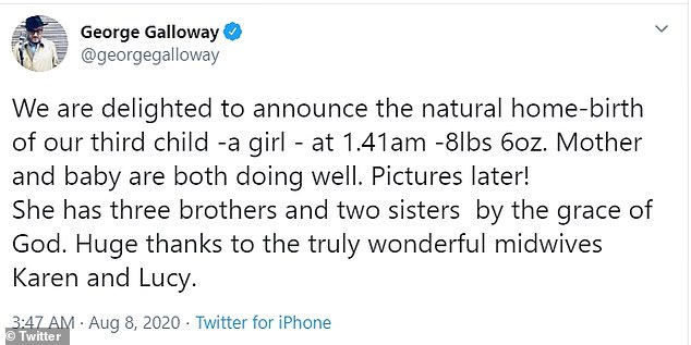 Surprise! The former MP took to Twitter to announce the arrival of his daughter and revealed that his wife Putri, 35, and their bundle of joy are doing well.