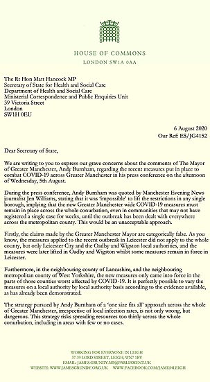 The letter Tory MPs wrote to Matt Hancock