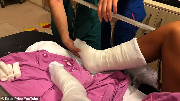 Agony: Katie posted a video on Monday of her experience at the hospital in Turkey as she fractured both ankles by jumping off a wall at a theme park on her holiday