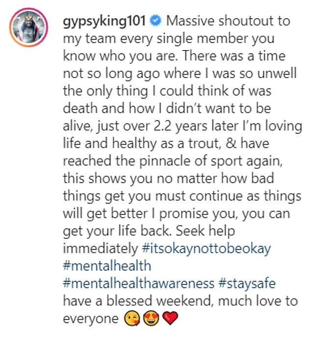Fury posted an emotional message on Instagram as he provided details of his experience