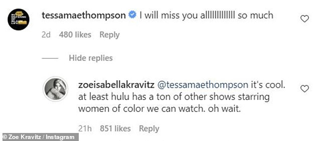 All alone: Zoë sarcastically replied to Tessa Thompson's condolences and noted Hulu's lack of shows starring women of color