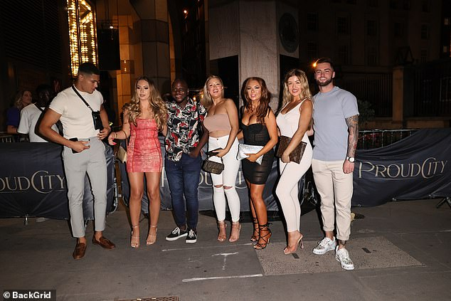 Reunited: The happy couple were joined by their Love Island pals (pictured) includingDemi Jones, Jordan Waobikeze, Eva Zapico, Jess Gale and Eve Gale