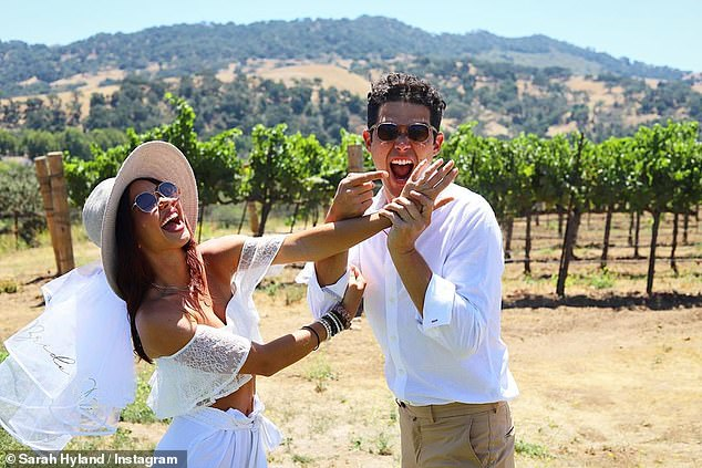 Check the rock:In the lovely spread, the actress and her hunky Bachelor in Paradise beau cavort in a sun-filled vineyard, in front of a hilly vista