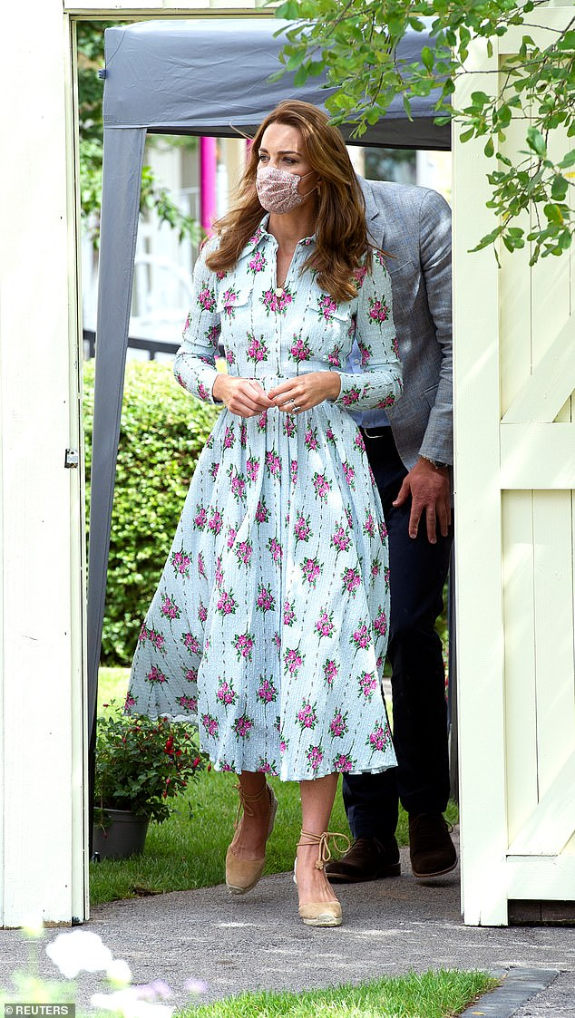 STYLISH: Kate in Wales last week. Sensibly she's avoided the puffy sleeves and balloon hems currently beloved by fashion influencers