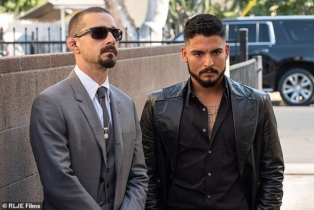 LaBeouf and Soto are show in a still from the movie, playing characters Creeper and David