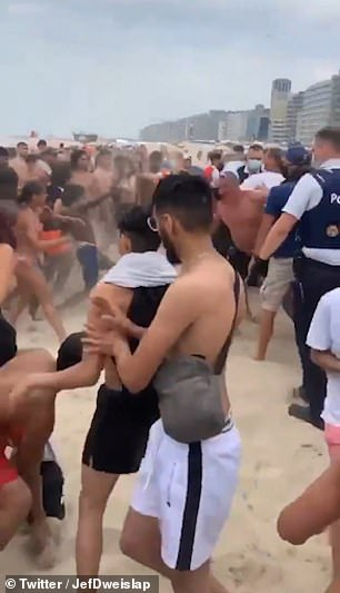 Beach goers threw sand and punches