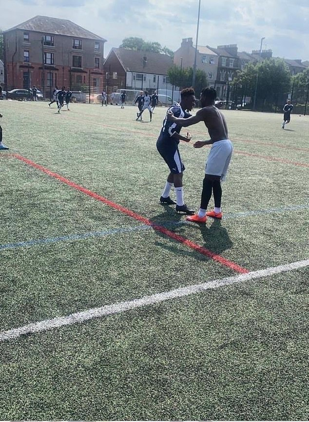 The 19-year-old laced up his shoes for Saha FC vs Lambeth Allstars in anti-knife criminal event