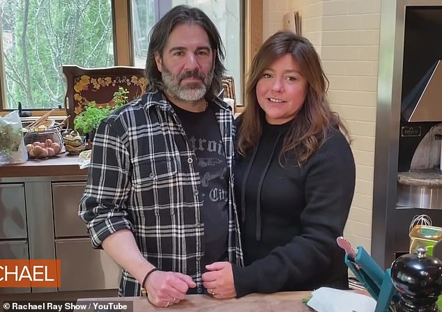Quarantine buddy: In April, she took a YouTube tour of her home in Lake Luzerne, New York, where she was in her forties with husband John M Cusimano, 52
