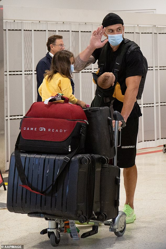 Pictured: Sonny Bill Williams arrives at Sydney Airport in Sydney on Thursday, July 30