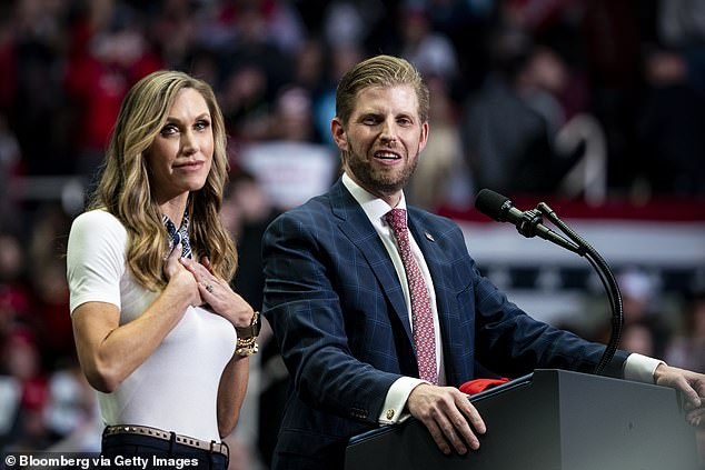 Eric Trump, pictured with his wife Lara in March, has not responded to Williams's criticism