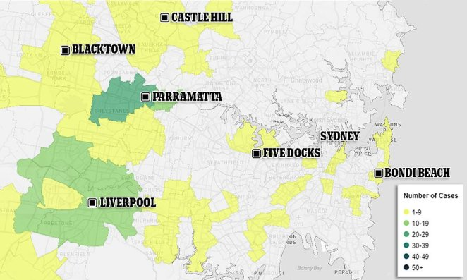 A map released by NSW Health shows the Sydney areas with the highest number of active cases. The worst postcode is 2145 (dark green, western Sydney including Greystanes, 23 active cases). Other postcodes with a high amount of active cases included 2170 (light green, Liverpool and surrounds, 11 active cases) and 2011 (yellow, Kings Cross and surrounds, 7 active cases)