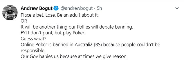Boomers veteran Andrew Bogut also backed Robinson's stance, saying 'be an adult about it' to punters