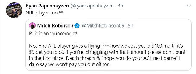 Papenhuyzen re-tweeted his support for Robinson after the Brisbane star's post was applauded by sporting stars across Australia