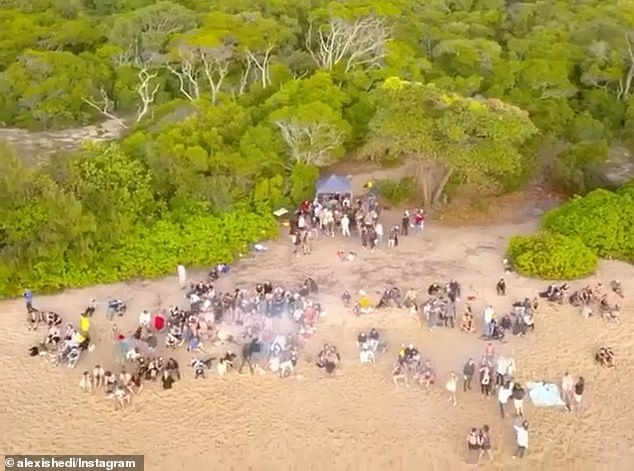 Drone footage of the party at Wangetti Beach was uploaded on social media back in August