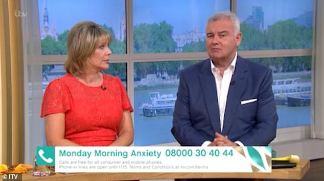 Embarrassing: The couple were talking to psychologist Emma Kenny about the anxiety when Ruth started reading the autocue, however, she was quickly interrupted by Eamonn.