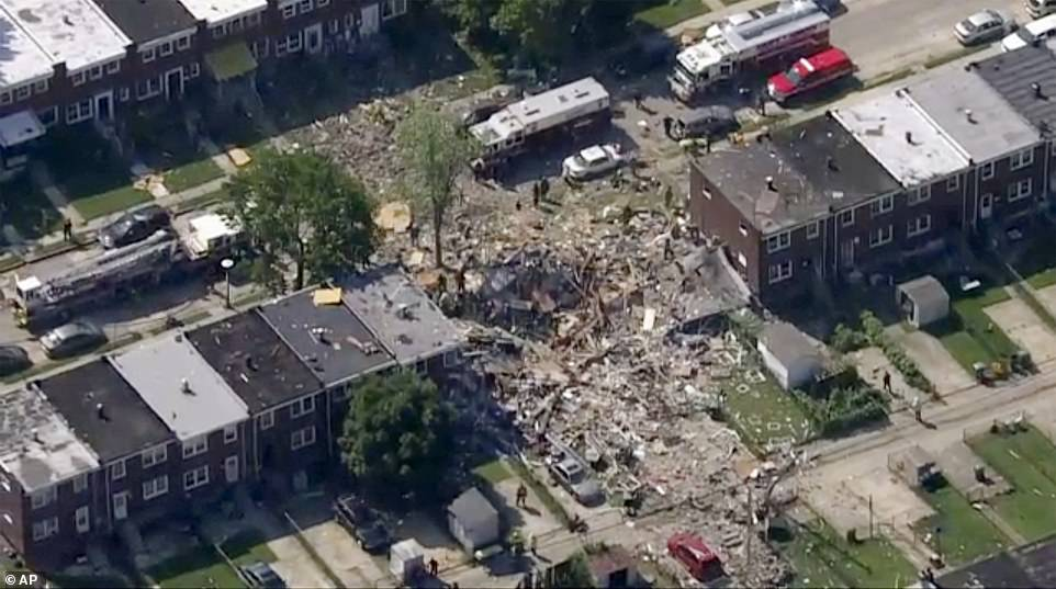 At least one person has been killed and another two are in a critical condition after a 'major explosion' in Baltimore (above)