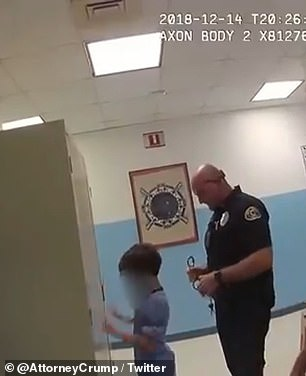 Officers told the child he was going to jail as they tried to handcuff him, but they didn't match because they were too fat