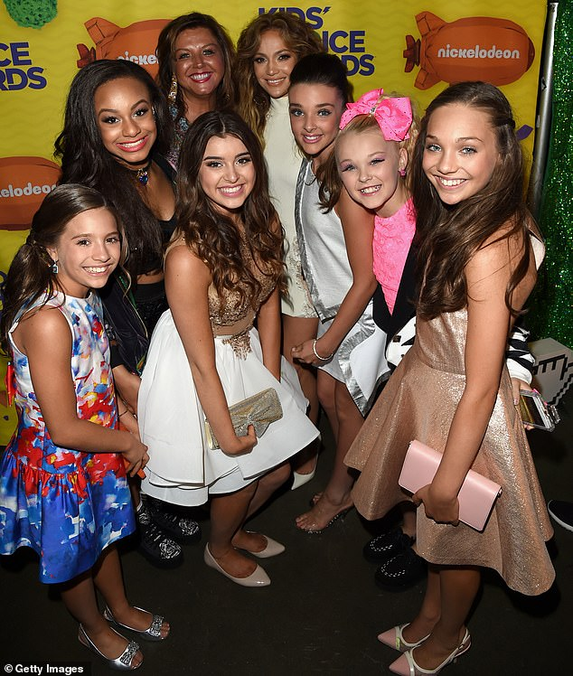 Throwback: Mackenzie, Nia, JoJo, and Chloe are pictured with Abby, Jennifer Lopez, and fellow dancer Kalani Hilliker at the Nickelodeon Kids' Choice Awards in 2015
