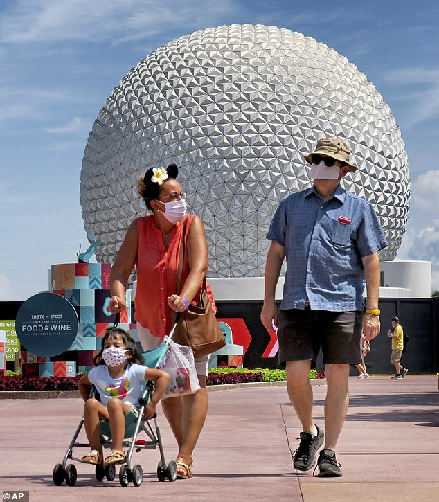 Guests at the official re-opening day of Epcot at Walt Disney World in Lake Buena Vista on July 15.People returning to the parks were met with a range of new measures including being able to unlock hotel rooms with an app, sanitizer and hand-washing stations everywhere and partitions between guests on rides