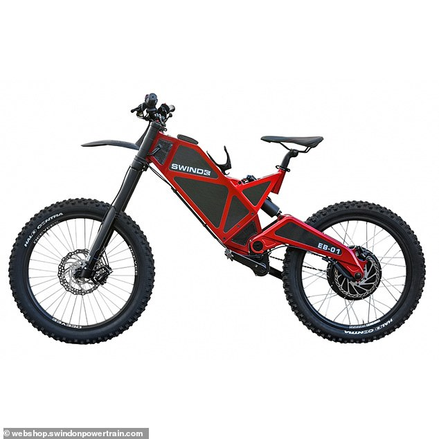 Power: TheSwind EB-01 is said to have an official top speed of 60mph but able to go up to 80mph with 'a little tinkering (stock image of the electric bike)