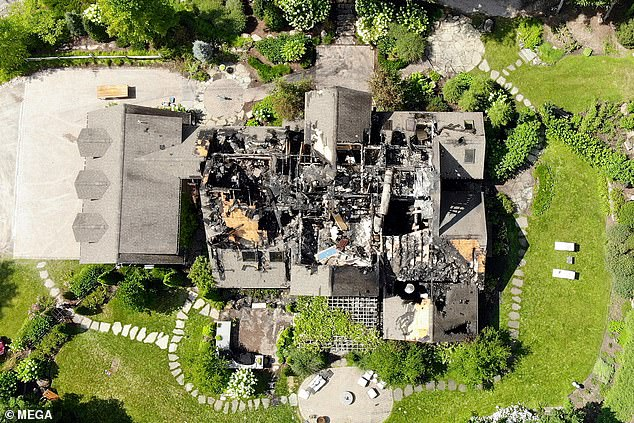 Exclusive drone footage shows how almost the entire structure of Rachael Ray's upstate New York mansion almost burned to the ground after a fire ripped through the building on Sunday