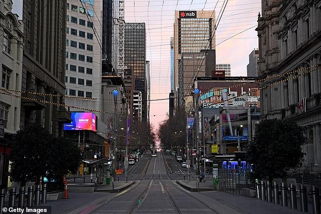 A very quiet Bourke Street is seen on August 11 as Melbourne endures its second week of lockdown