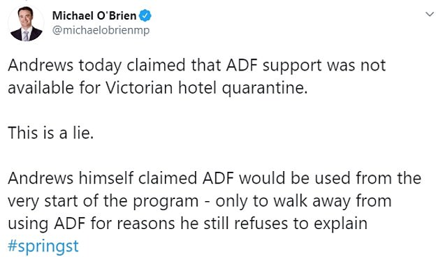 Opposition leader Michael O'Brien said Daniel Andrews had been caught lying about his decision to use private security guards
